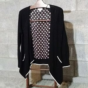 Open Front Sweater, Red & White polkadot Back